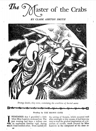 "1st page of ""The Master of Crabs"" as originally published in Weird Tales March 1948"