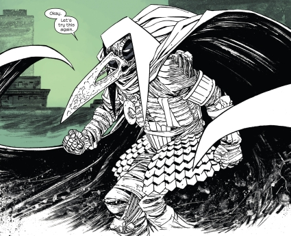 Moon Knight in his raven faced costume.