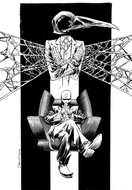 Moon Knight illustration by Declan Shalvey. It's Moon Knight sitting in an easy chair with a stylized raven mask and human body in a death pose hovering in spiderwebs above Moon Knight's head.