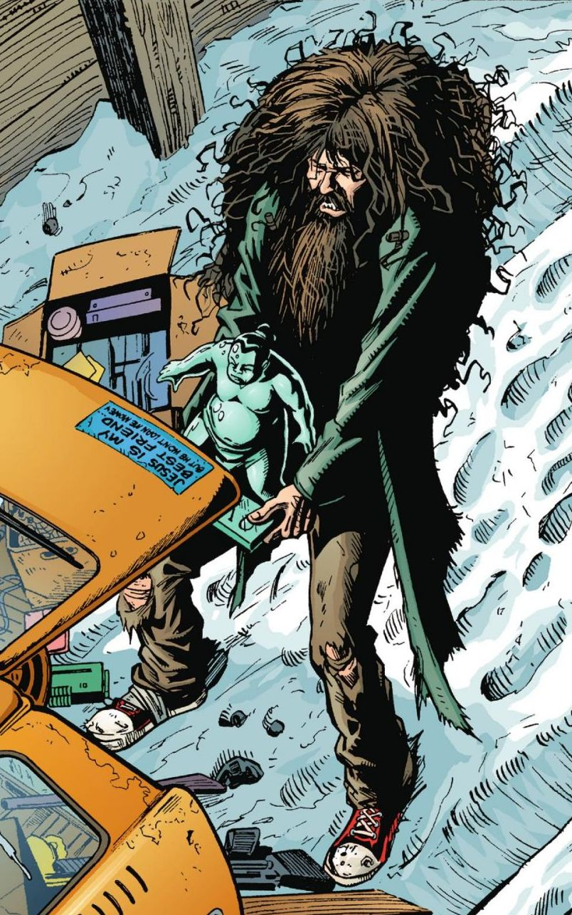 Picture of Spider Jerusalem shaggy-haired and bearded, stuffing a statue of a sumo wrestler into the trunk of a taxi.