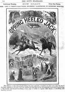 """Cover ad for an original penny dreadful from the late 1800s for """"Spring Heeled Jack."""""""