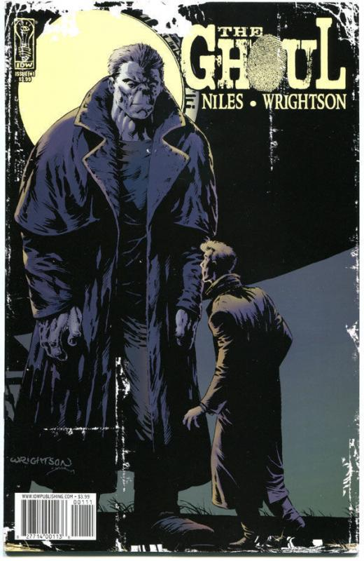 Cover image of The Ghoul issue 1, depicts the title character, a giant Frankenstein's monster in a trenchcoat with the moon or a spotlight illuminating him from behind.